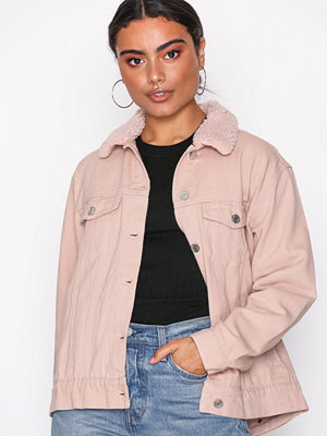 Missguided Oversized Teddy Faux Fur Denim Jacket Nude