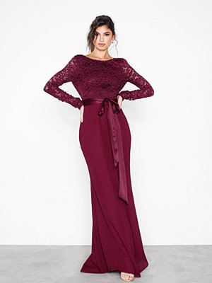 NLY Eve Open Back Bow Gown Burgundy