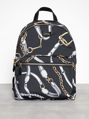 Lauren Ralph Lauren svart mönstrad ryggsäck Backpack-Backpack-Medium