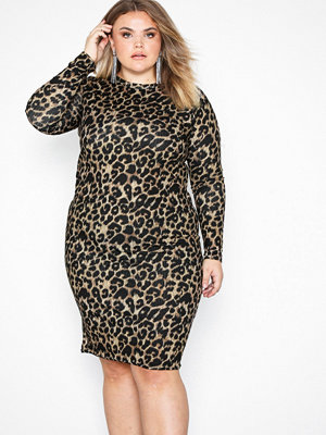 New Look Leopard Print Long Sleeve Midi Dress