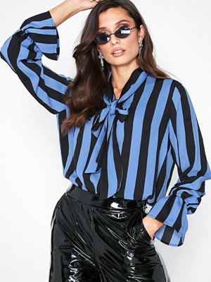 Selected Femme Slfelin Ls Tie Bow Top Ex Blå