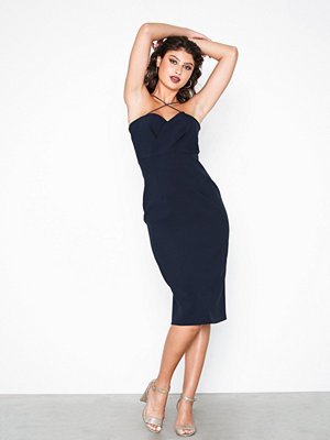 River Island Sl Tulip Bodycon Midi Dress Navy
