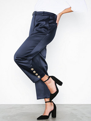 River Island omönstrade byxor Cigarette Trousers Navy