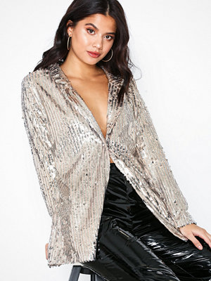 Missguided Contrast Belt Sequin Blazer