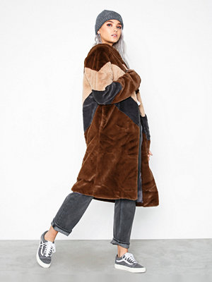 Missguided Longline Colour Block Faux Fur Coat Chocolate