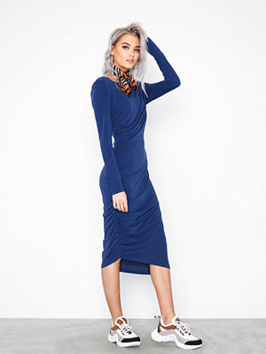 Selected Femme Slfhelen Ls Dress B Mörk Blå