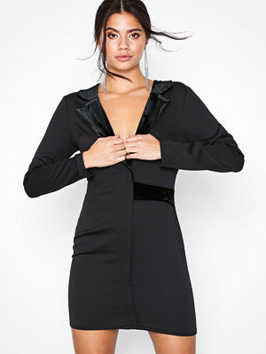 Missguided Satin Blazer Dress Black