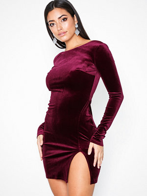 NLY One Split Velvet Dress Wine