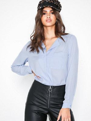 Selected Femme Slfdynella Ls Shirt Noos Blå