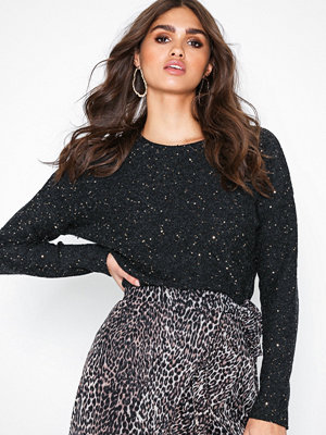 New Look Knit Gold Sequin Boxy Top Black