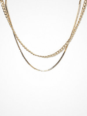 Freedom by Topshop halsband 2 Row Curb and Snake Necklace Gold