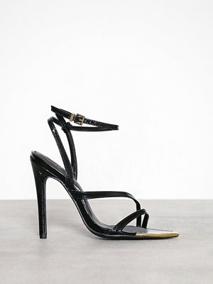 Pumps & klackskor - Missguided Metal Toe Cap Asymmetric Heeled Sandal Black