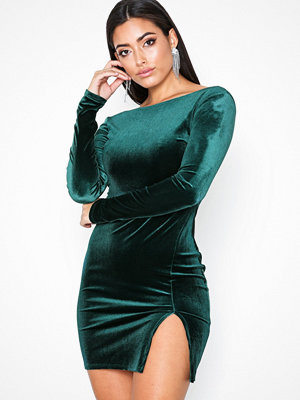 NLY One Split Velvet Dress Grön