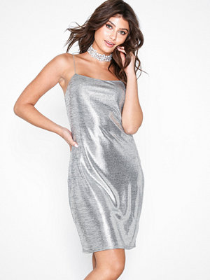 NLY Trend Disco Strappy Dress Silver