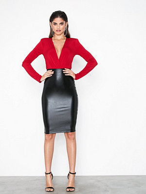 Kjolar - NLY One Leatherlook Midi Skirt Svart