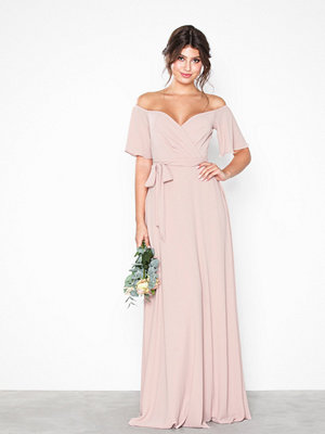 NLY Eve Wrap Wide Sleeve Gown Rose