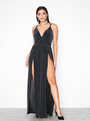 NLY One Glitter Double Slit Dress Svart
