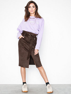 River Island Suedette Midi Skirt Brown