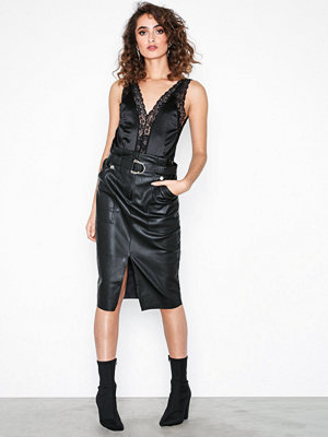 River Island PU Midi Skirt Black