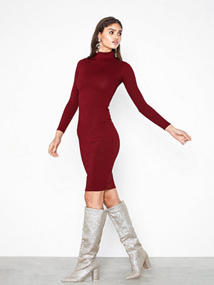 Parisian High Neck Skinny Rib Midi Dress