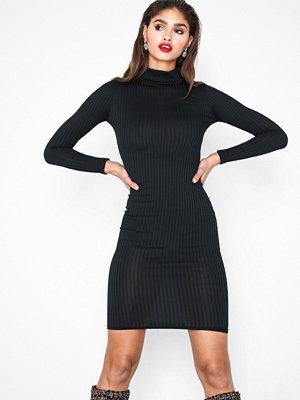Parisian High Neck Skinny Rib Midi Dress