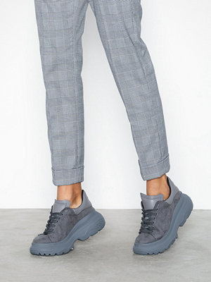 Missguided Double Sole Lace Up Trainer Charc Grey