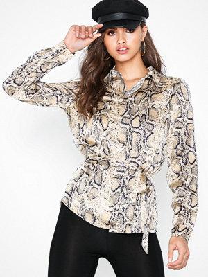 Selected Femme Slfsnake Ls Shirt Ex Ljus Grå