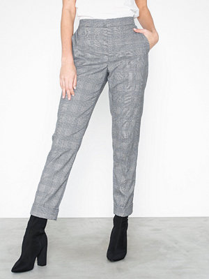 Lauren Ralph Lauren ljusgrå rutiga byxor Artine-Slim Leg-Pant Svart