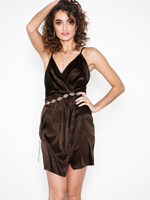 Parisian Satin Wrap Over Mini Dress Brown
