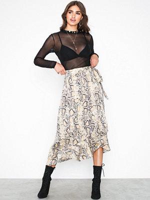 Selected Femme Slfsnake Mw Skirt Ex Ljus Grå