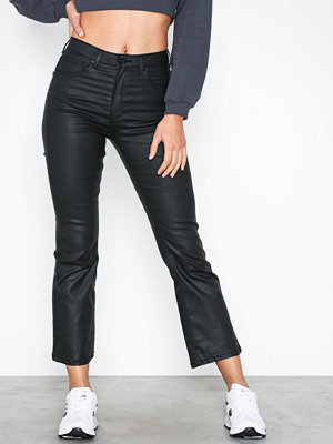 Gina Tricot Nova Kickflare Black Coated Jeans Black