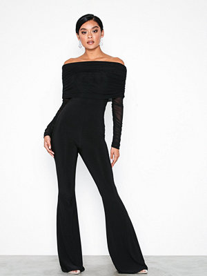 Jumpsuits & playsuits - NLY One Off Shoulder mesh Jumpsuit Svart