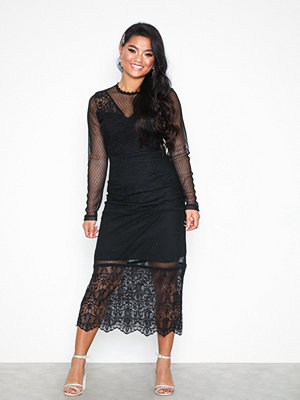 Only onlSAM L/S Lace Dress Wvn Svart