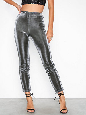 Missguided grå byxor Metalic Co Ord Skinny Trouser