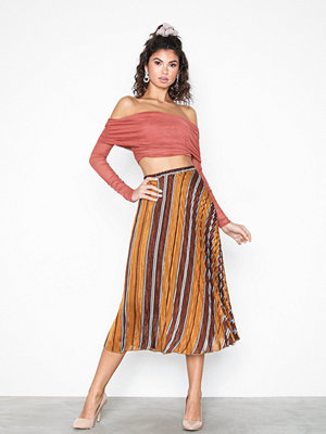 Kjolar - Neo Noir Fria Lurex Stripe Skirt Brown
