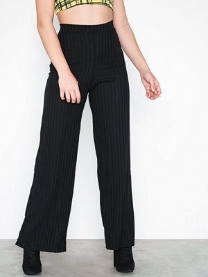 Missguided svarta randiga byxor Rib Wide Leg Trousers