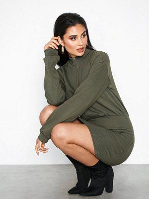 NLY Trend Zip Sweat Dress Mörk Grön
