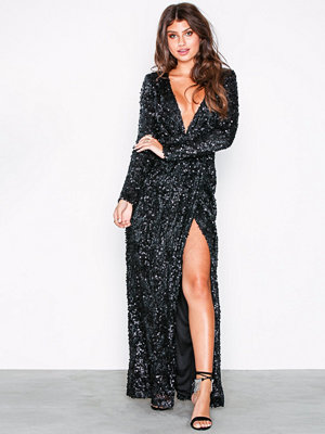 NLY Eve Sequin Lace Drape Gown Svart