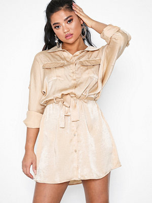 Missguided Tie Waist Shirt Dress Satin