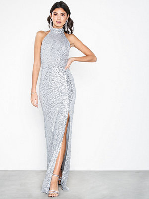 NLY Eve High Neck Sequin Gown Silver