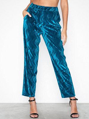 Y.a.s blå mönstrade byxor Yascirira Hw Pant