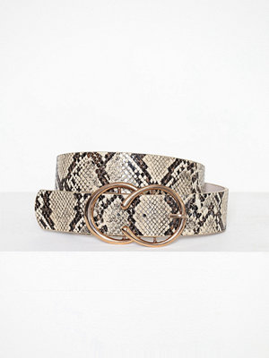 River Island Print Snake Horseshoe Double Ring Beige