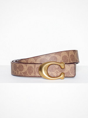 Coach 32mm sculpted c coated canvas reversible signature belt Brun