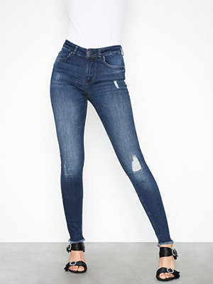 Only onlBLUSH Mid Ank Raw Jeans REA2077 Blå