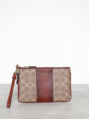 Coach mönstrad kuvertväska Colorblock coated canvas signature small wristlet