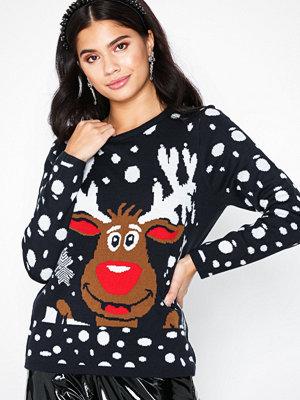 Only onlX-Mas Bell Reindeer L/S Pullover Mörk Blå