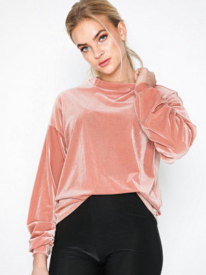Tröjor - NLY Trend Ribbed Sweat Rosa