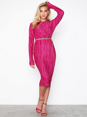 NLY Trend Pleated Midi Dress Rosa