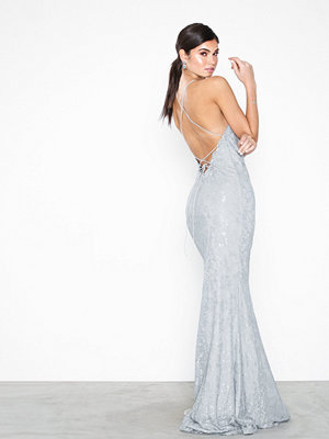 NLY Eve Lace Strappy Mermaid Gown Ljus Grå