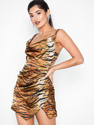 Missguided Satin Tiger Print Drape Mini Dress